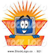 Vector Logo of a Friendly Desktop Computer Mascot Cartoon Character Logo Showing the Monitor Smiling over an Orange and Yellow Banner Against a Sunburst by Toons4Biz