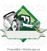 Vector Logo of a Friendly Green Lawn Mower Mascot Cartoon Character on a Blank Label by Toons4Biz