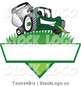 Vector Logo of a Friendly Green Lawn Mower Mascot Cartoon Character on a Logo by Toons4Biz
