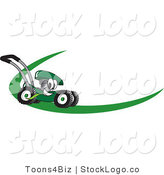 Vector Logo of a Friendly Green Lawn Mower Mascot Cartoon Character on a Logo or Nametag with a Green Dash by Toons4Biz