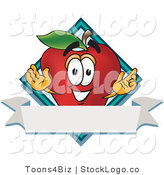 Vector Logo of a Friendly Red Apple Character Mascot Label by Toons4Biz