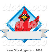 Vector Logo of a Friendly Red Cardinal Character School Mascot Blue Diamond Banner Logo by Toons4Biz