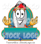 Vector Logo of a Friendly Rocket Mascot Cartoon Character with a Blank Blue Label by Toons4Biz