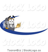 Vector Logo of a Friendly Rubber Tire Mascot Cartoon Character Logo with a Blue Dash by Toons4Biz