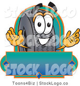 Vector Logo of a Friendly Rubber Tire Mascot Cartoon Character with a Blank Label by Toons4Biz