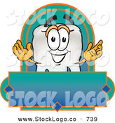 Vector Logo of a Friendly White Tooth Mascot Cartoon Character on a Blank Label by Toons4Biz