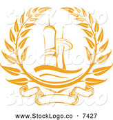 Vector Logo of a Golden Tower Laurel Wreath by Vector Tradition SM