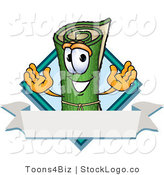 Vector Logo of a Green Carpet or Rolled Sod Mascot Cartoon Character with a Blank White Label by Toons4Biz