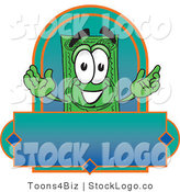 Vector Logo of a Green Dollar Bill Mascot Cartoon Character on a Blank Blue Label by Toons4Biz