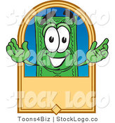 Vector Logo of a Green Dollar Bill Mascot Cartoon Character on a Blank Tan Label by Toons4Biz