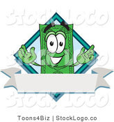 Vector Logo of a Green Dollar Bill Mascot Cartoon Character over a Blank White Label by Toons4Biz
