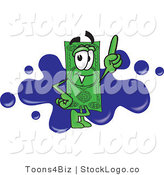 Vector Logo of a Green Dollar Bill Mascot Cartoon Character Pointing Upwards and Standing in Front of a Blue Paint Splatter on a Business Logo by Toons4Biz