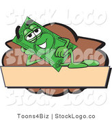 Vector Logo of a Green Dollar Bill Mascot Cartoon Character Reclining on a Blank Tan and Brown Label by Toons4Biz