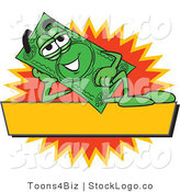 Vector Logo of a Green Dollar Bill Mascot Cartoon Character Reclining over a Blank Yellow Label by Toons4Biz