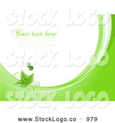 Vector Logo of a Green Fluttering Butterfly Above Green Leaves with Dew Drops, on Waves of Green and White, Around White with Space for Text or a Business Name by KJ Pargeter