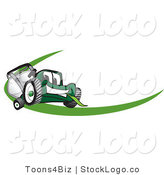 Vector Logo of a Green Lawn Mower Mascot Cartoon Character Facing Front on a Logo or Nametag with a Green Swish by Toons4Biz