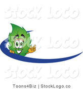 Vector Logo of a Green Leaf Mascot Cartoon Character Logo with a Blue Dash by Toons4Biz