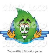 Vector Logo of a Green Leaf Mascot Cartoon Character Logo with Blue Lines by Toons4Biz