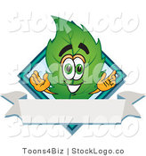 Vector Logo of a Green Spring Leaf Mascot Cartoon Character with a Diamond and Blank Ribbon Label by Toons4Biz