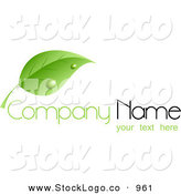 Vector Logo of a Green Stock Logo of a Single Green Leaf with Dew Drops, Above Space for a Company Name and Information by KJ Pargeter