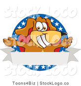 Vector Logo of a Grinning Brown Dog Mascot Cartoon Character with Open Arms with a Blank Label by Toons4Biz