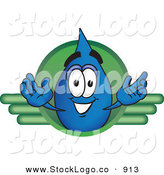 Vector Logo of a Grinning Water Drop Mascot Cartoon Character on a Green Business Logo by Toons4Biz