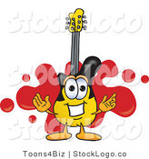 Vector Logo of a Guitar Mascot Cartoon Character Logo with a Red Paint Splatter Background by Toons4Biz