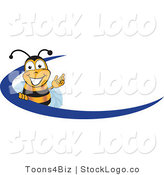 Vector Logo of a Happy and Smiling Bee Mascot Cartoon Character Logo with a Blue Dash by Toons4Biz