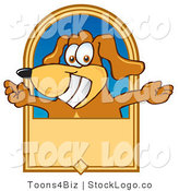Vector Logo of a Happy Brown Dog Mascot Cartoon Character with Open Arms on a Banner by Toons4Biz