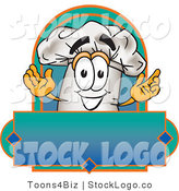 Vector Logo of a Happy Cook Hat Mascot Cartoon Character over a Blank Label by Toons4Biz