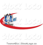 Vector Logo of a Happy Desktop Computer Mascot Cartoon Character with a Red Dash on an Employee Nametag or Business Logo by Toons4Biz