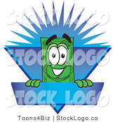 Vector Logo of a Happy Dollar Bill Mascot Cartoon Character on a Blank Blue Label with a Burst by Toons4Biz