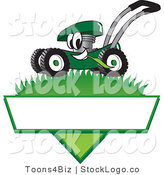 Vector Logo of a Happy Green Lawn Mower Mascot Cartoon Character Mowing Grass over a Blank White Label by Toons4Biz