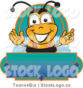 Vector Logo of a Happy Honey Bee Mascot Cartoon Character on a Blank Blue and Green Label by Toons4Biz