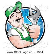 Vector Logo of a Happy Mechanic Man Within a Circle, Holding a Wrench and Smiling by TA Images