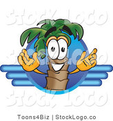 Vector Logo of a Happy Palm Tree Mascot Cartoon Character on a Blue Travel Business Logo by Toons4Biz