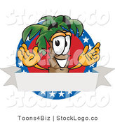 Vector Logo of a Happy Palm Tree Mascot Cartoon Character on an American Business Logo by Toons4Biz