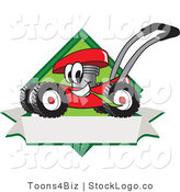 Vector Logo of a Happy Red Lawn Mower Mascot Cartoon Character Chewing Grass on a Blank Ribbon Label by Toons4Biz