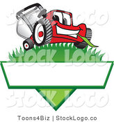 Vector Logo of a Happy Red Lawn Mower Mascot Cartoon Character on a Grassy Hill on a Blank Label by Toons4Biz