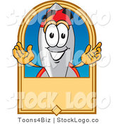 Vector Logo of a Happy Rocket Mascot Cartoon Character on a Blank Tan Business Label Logo or Sign by Toons4Biz