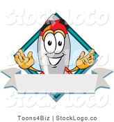 Vector Logo of a Happy Rocket Mascot Cartoon Character with a Blank Label by Toons4Biz