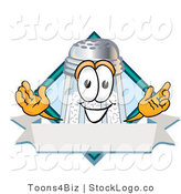 Vector Logo of a Happy Salt Shaker Mascot Cartoon Character on a Blank Blue Label with a Banner and Diamond by Toons4Biz