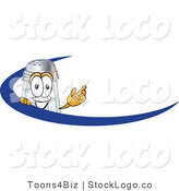 Vector Logo of a Happy Salt Shaker Mascot Cartoon Character Waving and Standing Behind a Blue Dash on an Employee Nametag or Business Logo by Toons4Biz