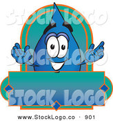 Vector Logo of a Happy Water Drop Mascot Cartoon Character on a Blank Label by Toons4Biz
