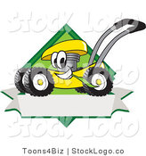 Vector Logo of a Happy Yellow Lawn Mower Mascot Cartoon Character Chewing Grass on a Blank Ribbon Label by Toons4Biz