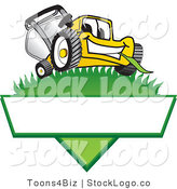 Vector Logo of a Happy Yellow Lawn Mower Mascot Cartoon Character on a Triangle Logo with a White Label by Toons4Biz