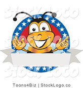 Vector Logo of a Honey or Bumble Bee Mascot Cartoon Character with Stars on a Blank Label by Toons4Biz