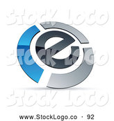 Vector Logo of a Letter E Circled by Chrome and Blue Bars by Beboy