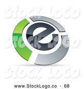 Vector Logo of a Letter E Circled by Chrome and Green Bars by Beboy