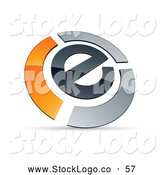 Vector Logo of a Letter E Circled by Chrome and Orange Bars by Beboy